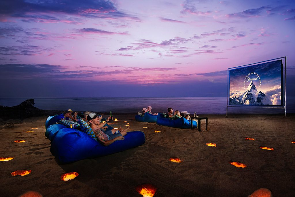 great moment watching movie on karma beach, outdoor bioskop